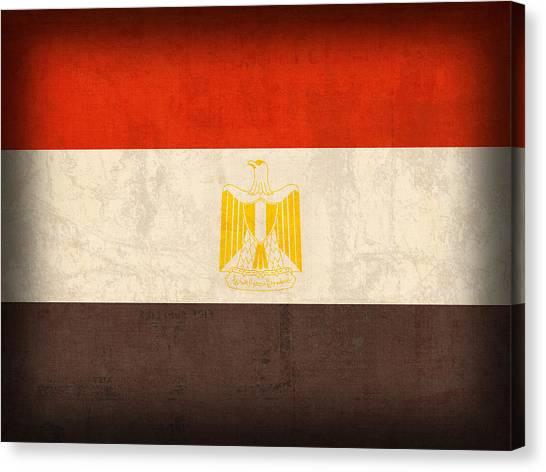 Patriotic Canvas Print - Egypt Flag Distressed Vintage Finish by Design Turnpike