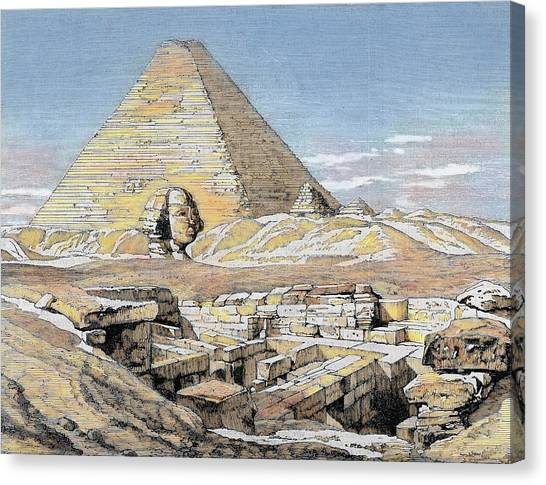 Egyptian Art Canvas Print - Egypt Pyramids And Sphinx Colored by Prisma Archivo