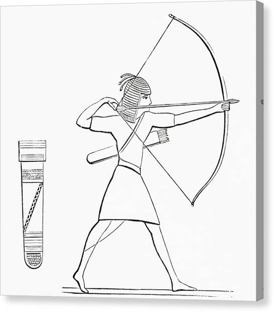 Egyptian Art Canvas Print - Egyptian Archer And Quiver.  From The Imperial Bible Dictionary, Published 1889 by Bridgeman Images