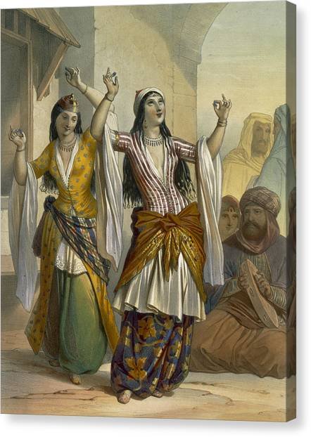 Tambourines Canvas Print - Egyptian Dancing Girls Performing by Emile Prisse d'Avennes