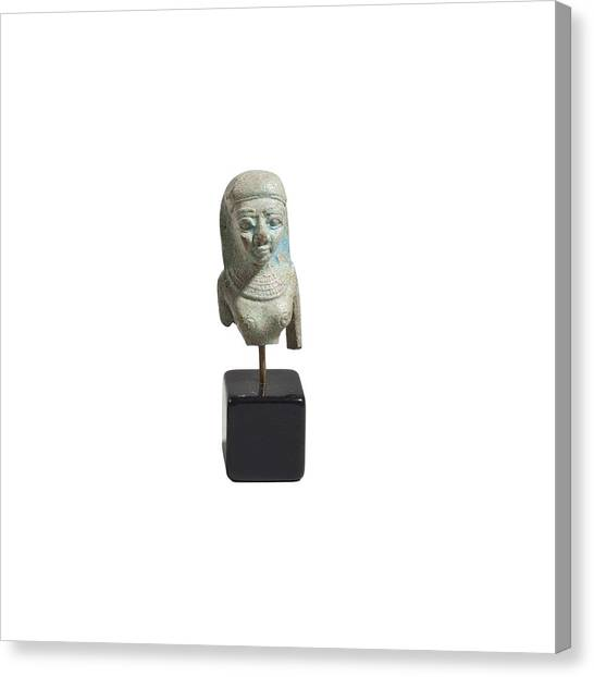 Egyptian Faience Bust Of A Lady Canvas Print by Science Photo Library