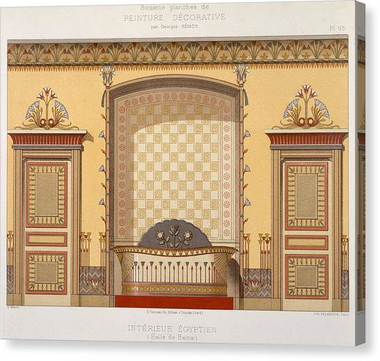 Tile Canvas Print - Egyptian Interior , From Interior by Georges Remon
