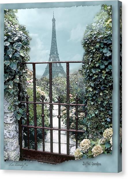 Eiffel Garden In Blue Canvas Print