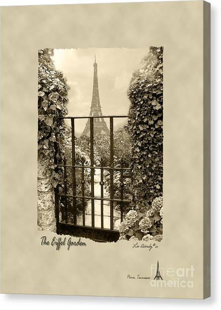 Eiffel Garden Sepia Canvas Print