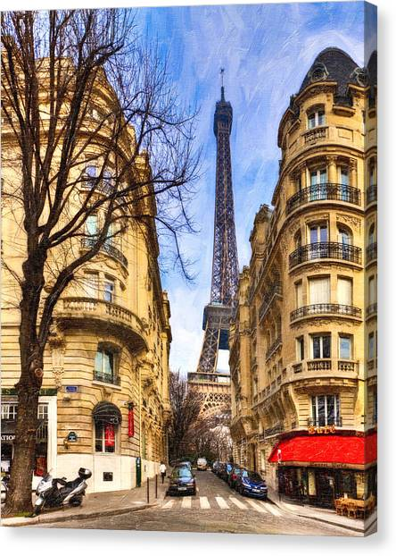 Canvas Print featuring the photograph Eiffel Tower And The Streets Of Paris by Mark E Tisdale