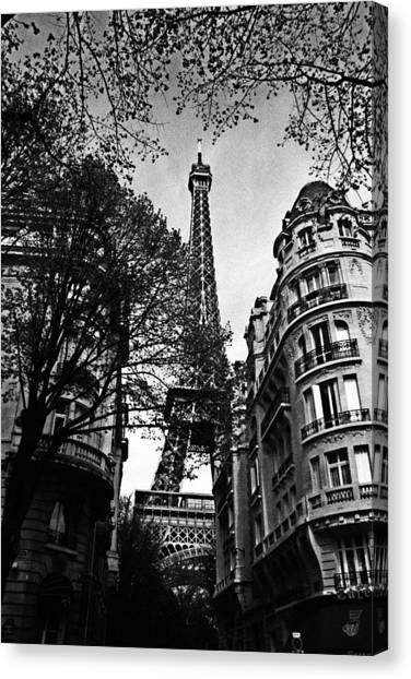 French Canvas Print - Eiffel Tower Black And White by Andrew Fare