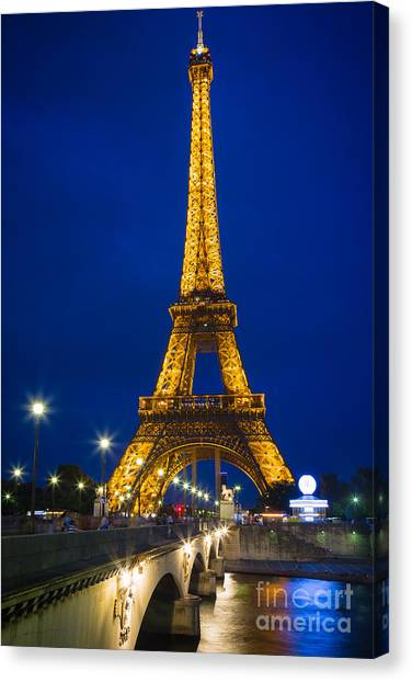 Europa Canvas Print - Eiffel Tower By Night by Inge Johnsson