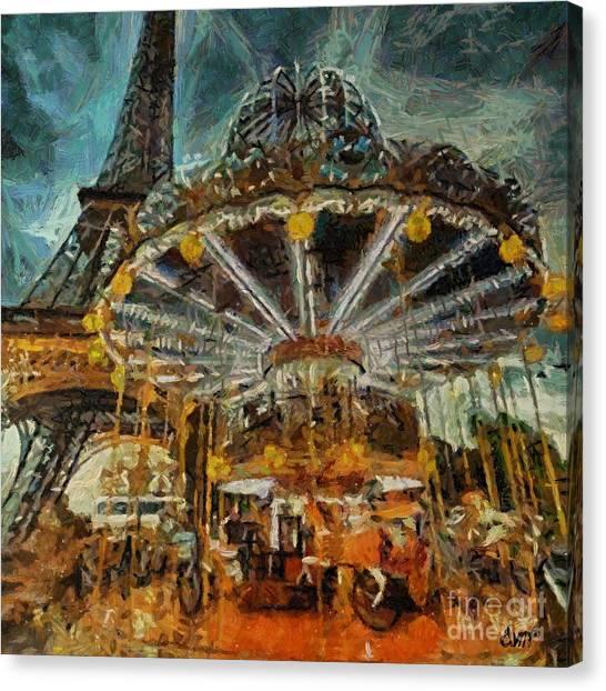 Eiffel Tower Carousel Canvas Print