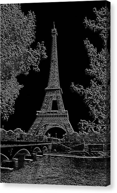 Eiffel Tower Charcoal Negative Image Dark Canvas Print by L Brown