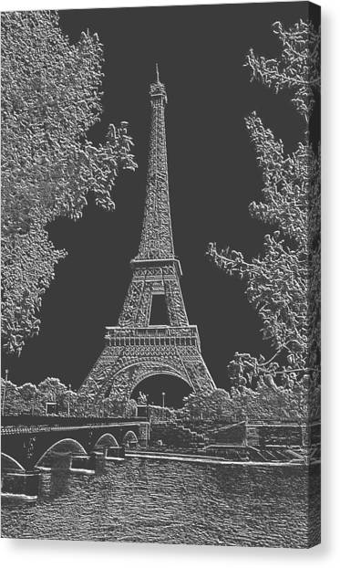 Eiffel Tower Charcoal Negative Image Canvas Print by L Brown