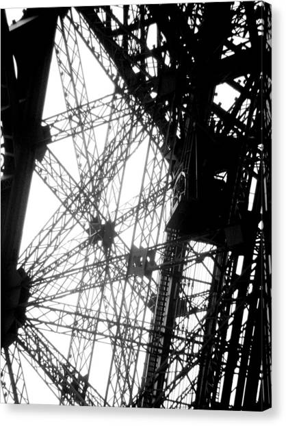 Eiffel Tower Lift Canvas Print by Rita Haeussler