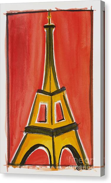 Eiffel Tower Orange And Yellow Canvas Print
