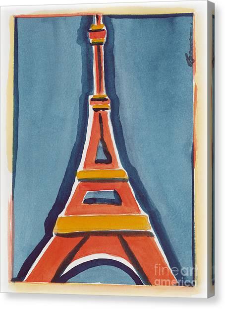 Eiffel Tower Orange Blue Canvas Print