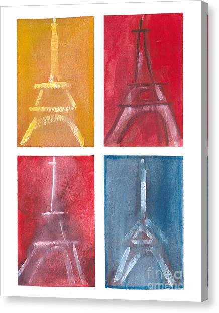 Eiffel Tower Paintings Of 4 Up Canvas Print