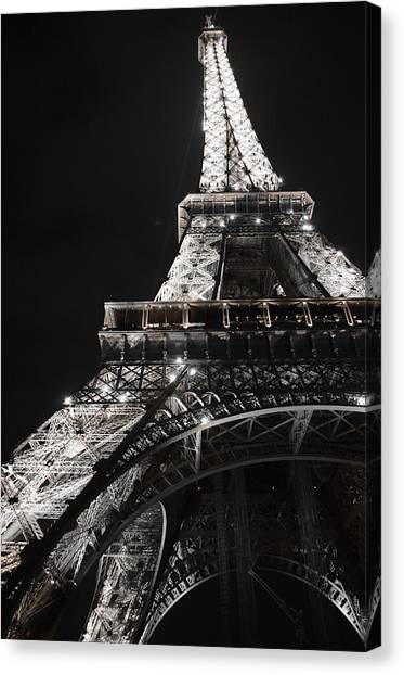 Eiffel Tower Paris France Night Lights Canvas Print
