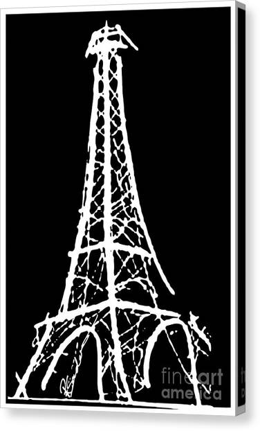 Eiffel Tower Paris France White On Black Canvas Print