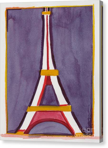 Eiffel Tower Purple Red Canvas Print