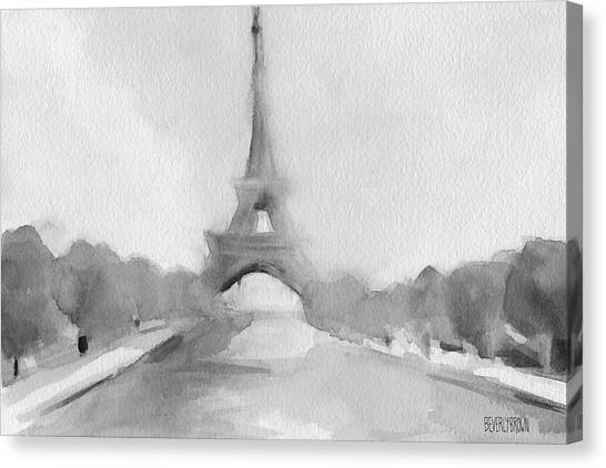 Romantic paris canvas print eiffel tower watercolor painting black and white by beverly brown