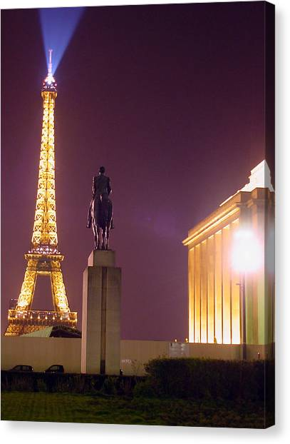 Eiffel Tower With A Monument Canvas Print