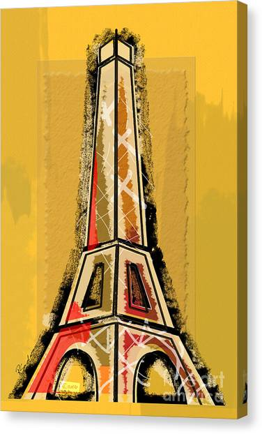 Eiffel Tower Yellow And Red Canvas Print