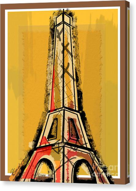 Eiffel Tower Yellow Black And Red Canvas Print