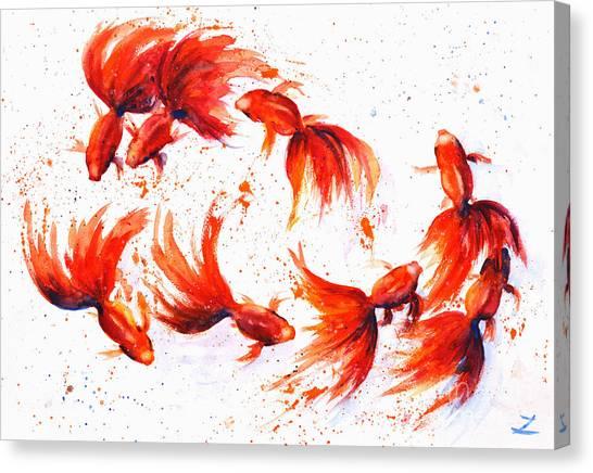 Eight Dancing Goldfish  Canvas Print