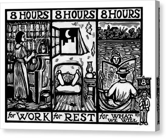 Eight Hours Canvas Print by Ricardo Levins Morales