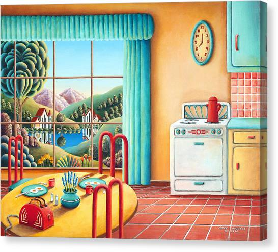 Kitchen Window Canvas Print - Eight Oclock by Andy Russell