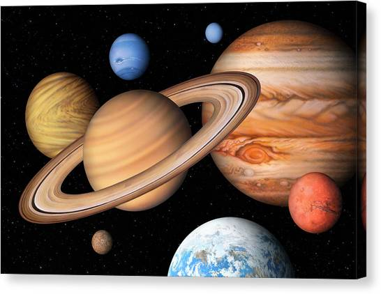 Neptune Canvas Print - Eight Solar System Planets by Lynette Cook/science Photo Library