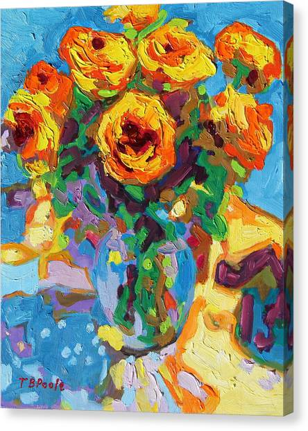 Eight Yellow Roses Oil Painting Bertram Poole Apr14 Canvas Print