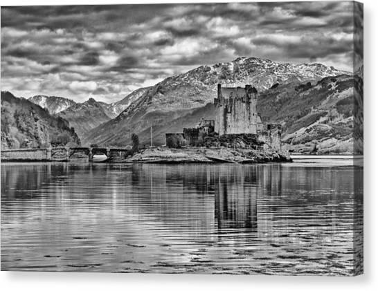 Eilean Donan - A Reflection Without Colour Canvas Print