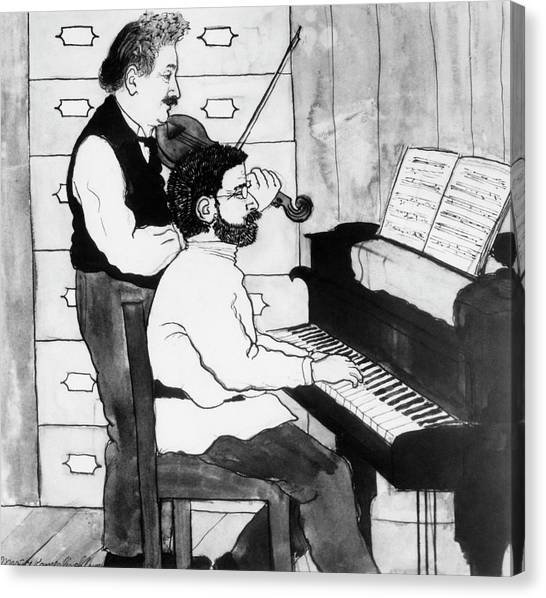 Pianos Canvas Print - Einstein And Ehrenfest Duet In Leiden by Emilio Segre Visual Archives/american Institute Of Physics