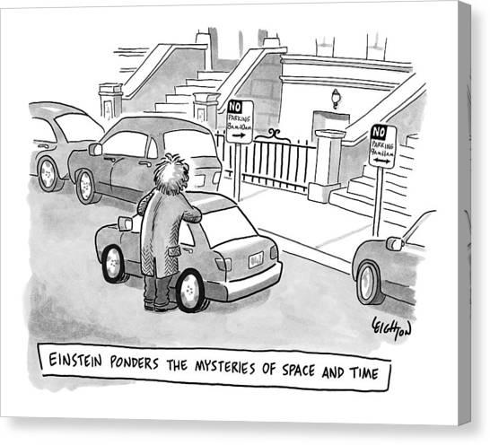 Einstein Is Seen Standing Next To A Parked Car Canvas Print