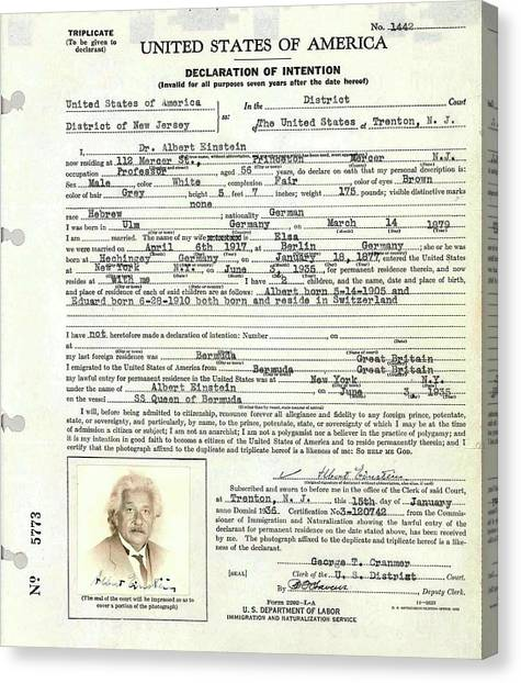 Immigration Canvas Print - Einstein's Immigration Declaration by Emilio Segre Visual Archives/american Institute Of Physics