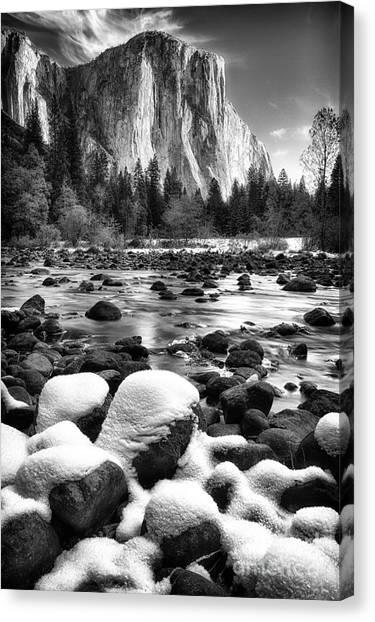El Cap And Snow Canvas Print