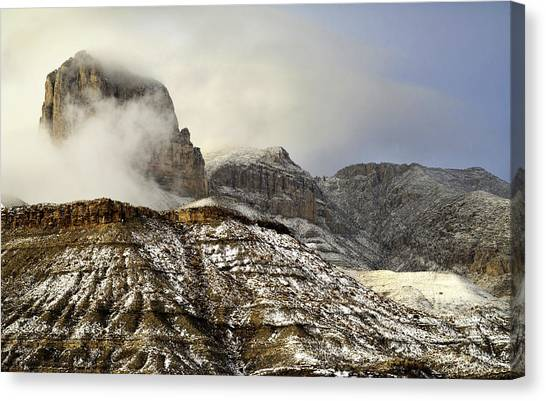 El Capitan Emerging Through The Clouds Canvas Print