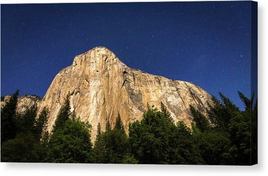 El Capitan Under A Starry Moonlit Night Canvas Print by Russ Bishop