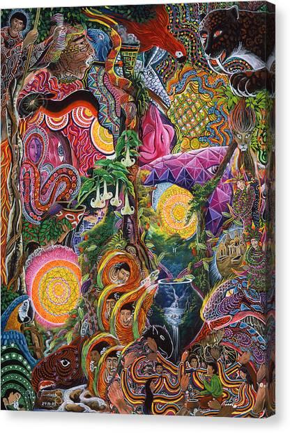 Peru Canvas Print - El Encanto De Las Piedras by Pablo Amaringo