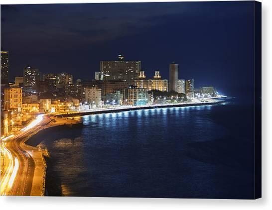 El Malecon, At Night, Havana, Cuba Canvas Print by B&M Noskowski