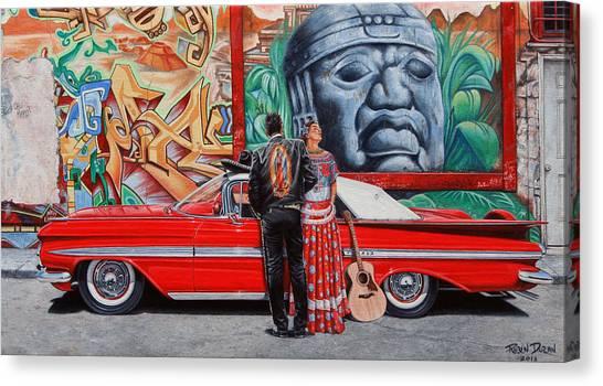 Traditional Canvas Print - El Mariachi Y La Danzante by Ruben Duran