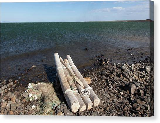 El-molo Fishing Raft On The Shore Of Canvas Print