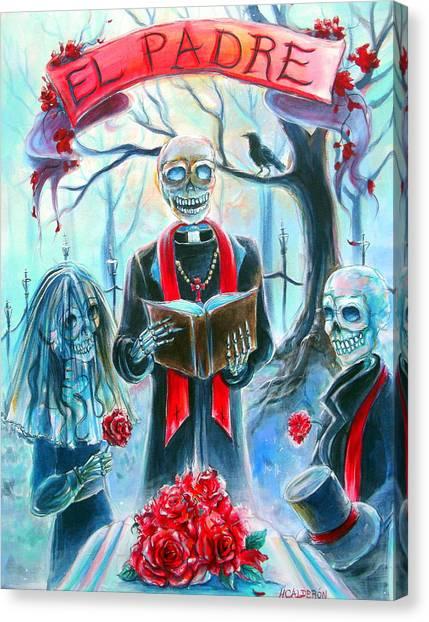 Church Yard Canvas Print - El Padre by Heather Calderon