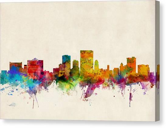El Paso Canvas Print - El Paso Texas Skyline by Michael Tompsett