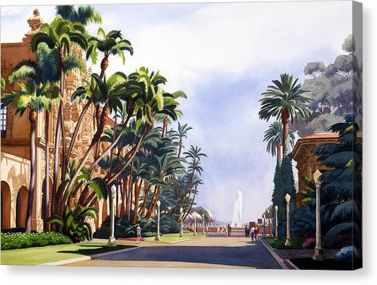 San Diego Canvas Print - El Prado In Balboa Park by Mary Helmreich