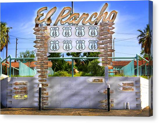 Historic Route 66 Canvas Print - El Rancho Motel 2 - Barstow by Mike McGlothlen