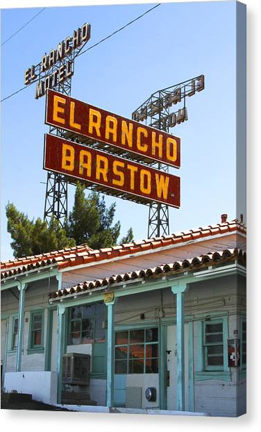 Historic Route 66 Canvas Print - El Rancho Motel - Barstow by Mike McGlothlen