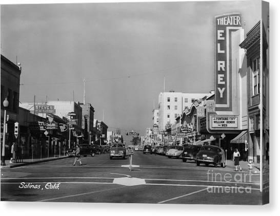 El Rey Theater Main Street Salinas Circa 1950 Canvas Print