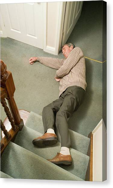 Unconscious Canvas Print - Elderly Man Injured By Falling by Paul Rapson/science Photo Library