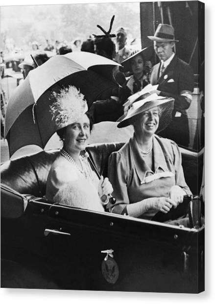 Queen Elizabeth Canvas Print - Eleanor Roosevelt & The Queen by Underwood Archives