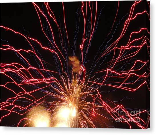 Electric City Fireworks 2013 Xv Canvas Print by Daniel Henning